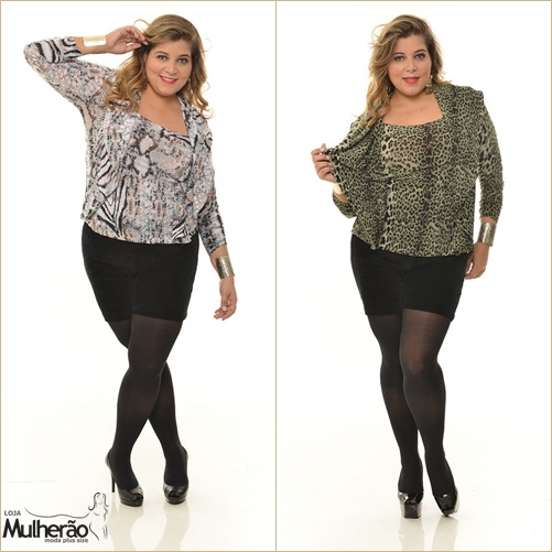 blusa animal print plus size