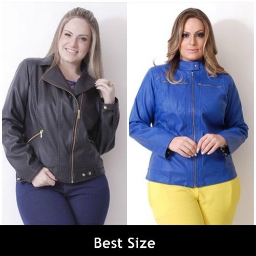 jaqueta de couro plus size 20