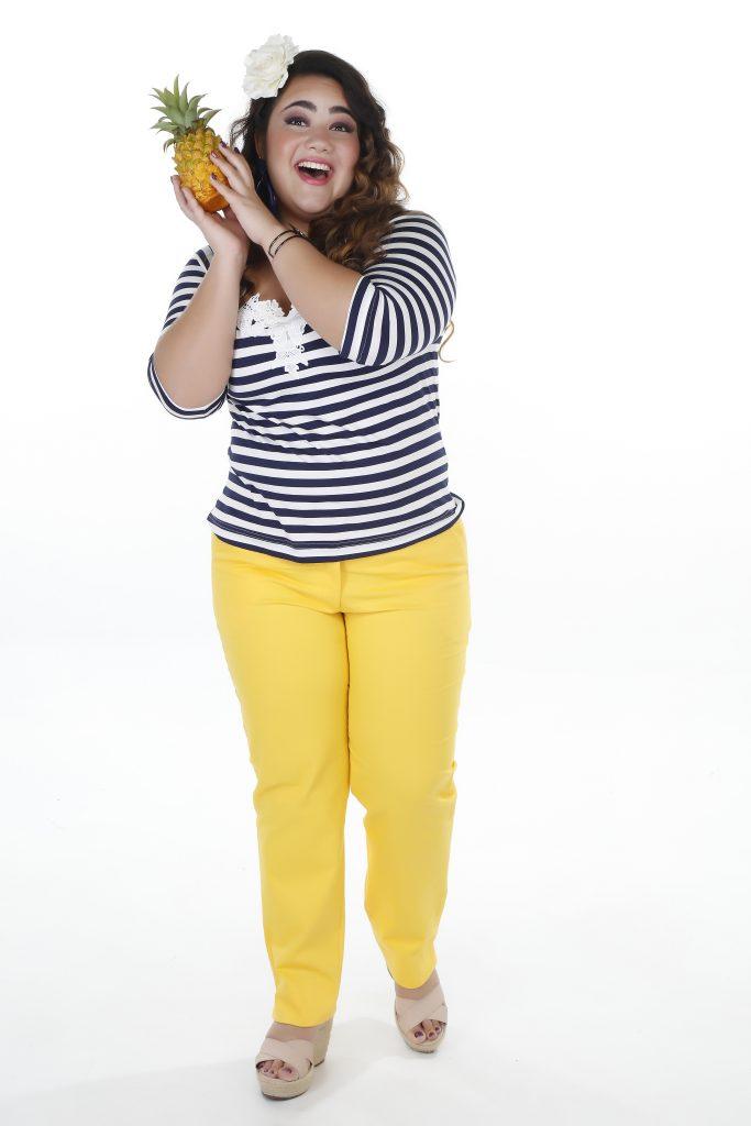 calça-amarela-plus-size-blusa-listrada-maria-abacaxita-pop-plus-club-homs