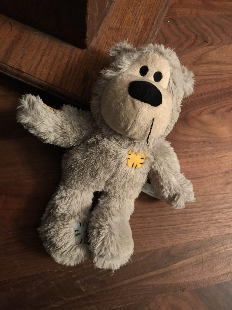 Um brinquedo velho de cachorro jogado ao chao